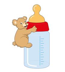 Babyflasche mit Teddy Kuscheltier