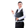 Portrait of young businesswoman with folder