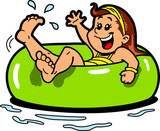 Girl Floating Inner Tube