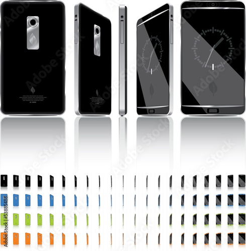 Smart Phone 3D Rotation - 21 Frames - 4 Colors