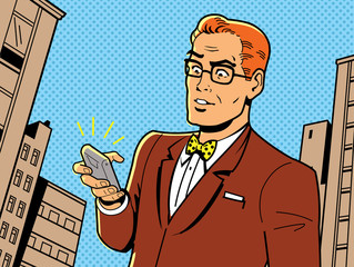Retro Man With Glasses and Phone