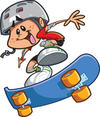 Skateboard Boy With Helmet