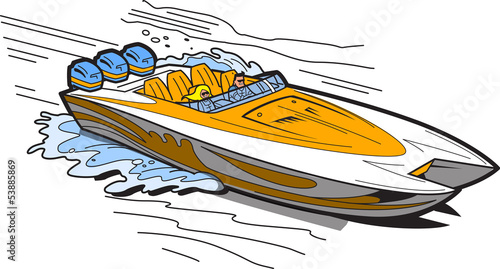 Speedboat On Water - 53885869