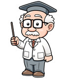 Vector illustration of Cartoon Professor