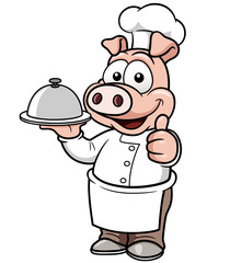 Vector illustration of Cartoon chef pig