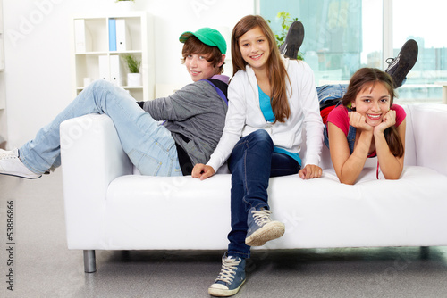 Friends on sofa