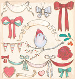 Hand Drawn Vintage Holiday Bird, Ribbons and Bows Vector Set
