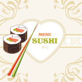 Sushi rolls and chopsticks. Label for menu design