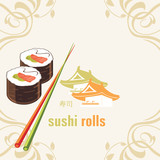 Sushi rolls and chopsticks. Label for design