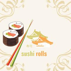 Sushi rolls and chopsticks. Label for design