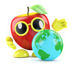 3d Apple looks at the world