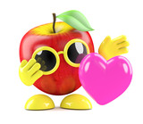 3d Apple feels love