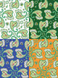 Four seamless paisley patterns, pixel aligned, tiles separated
