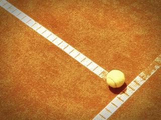 Tennisplatz Linie mit Ball 138