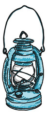 antique kerosene lamp drawing on white background