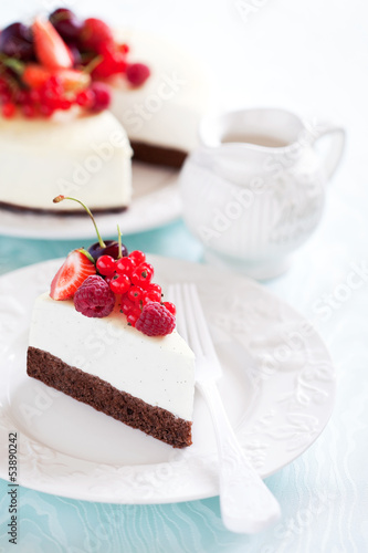 Vanilla and chocolate cheesecake with berries, selective focus