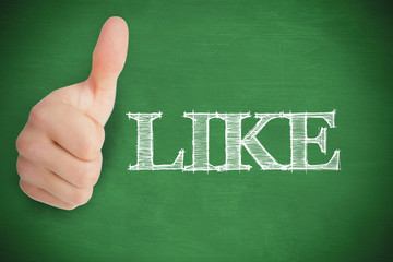 Thumb up representing social network logo on green background
