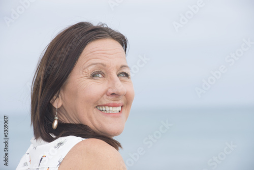 Happy attractive mature woman outdoor