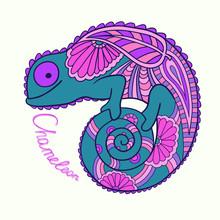 Uroczy kameleon w stylu etnicznym