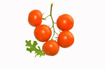 Ripe truss tomatoes isolated