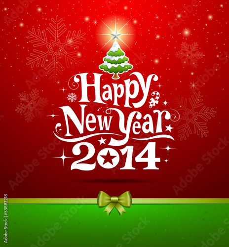 Happy New Year 2014 lettering Greeting Card, vector