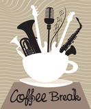 Cup of coffee with different musical instruments - 53892494