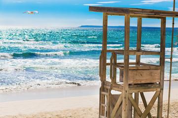Rescue Tower on the beach.  Mallorca island, Spain