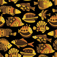 Seamless pattern with bright tropical fish.