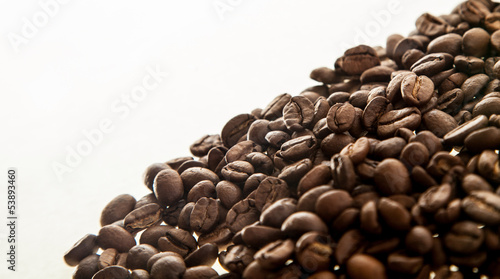 Handful coffee beans