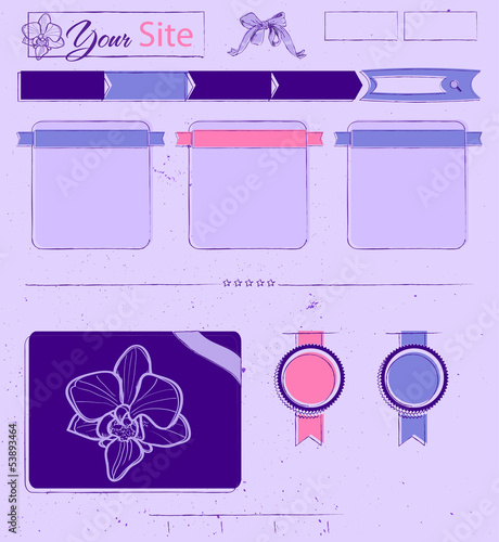 Website template with lilac vintage elements.