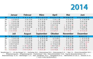 Kalender 2014 Visitenkartenformat mit Feiertagen