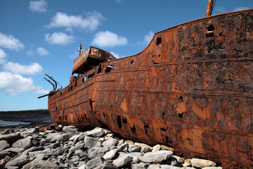 red rust on old sank boat in Inisheer, Aran Islands