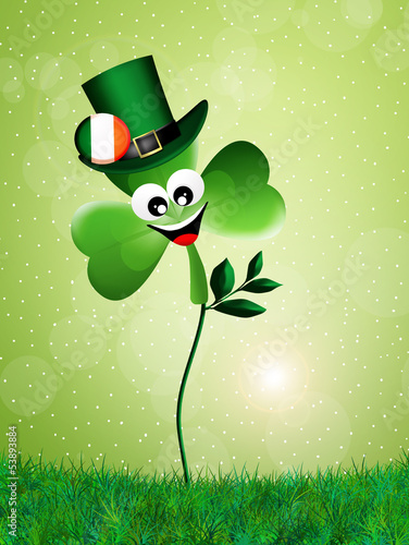 cartoon clover for St. Patrick's Day