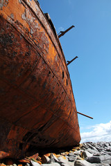 red rust detail, old sank boat in Inisheer, Aran Islands
