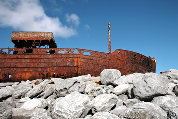 Sank boat in Inisheer, Aran Islands