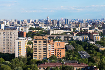 Moscow city skyline in summer afternoon