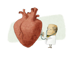 Fun illustration of a doctor examining a big heart
