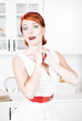 Happy beautiful woman with red hair