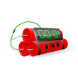 Explosives with digital alarm clock. Vector illustration