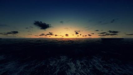 Oil Rig, flight across ocean, timelapse night to day