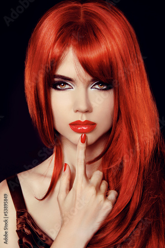 Hair. Healthy Straight Long Red Hair. Fashion Beauty Model. Sexy