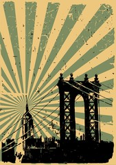 Grunge image of new york, poster,