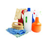 assortment of cleaning products isolated on white