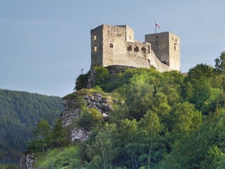 Ruins of Strecno Castle before sundown