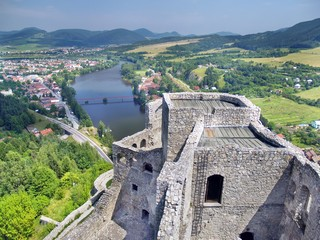 Aerial summer view from tower of Strecno Castle