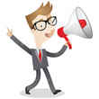Businessman, megaphone, announcement, walking