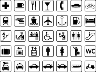 guide and travel pictographs