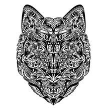 Motif en forme d'un loup.