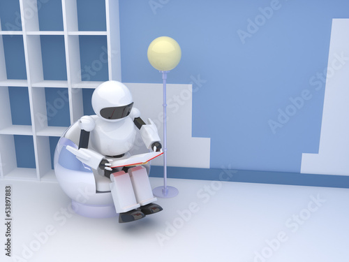 robot with book