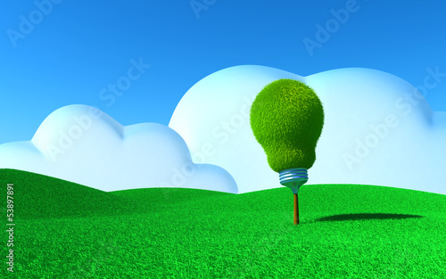 light bulb on a field